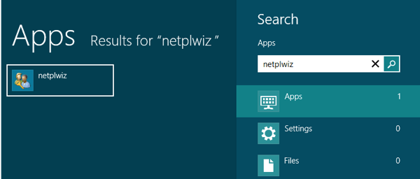 netplwiz windows 8